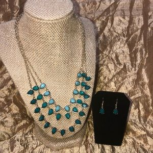 Jewelry - Necklace & Earring Set! Beautiful Gold & teal!!